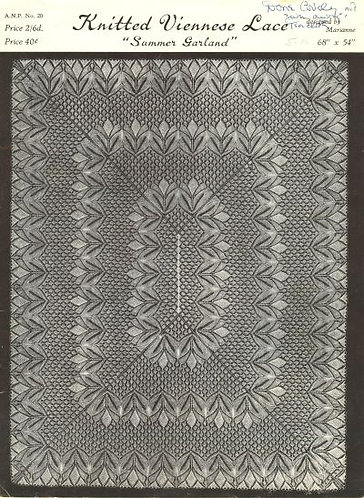ANP20 viennese lace vintage knitting pattern PDF