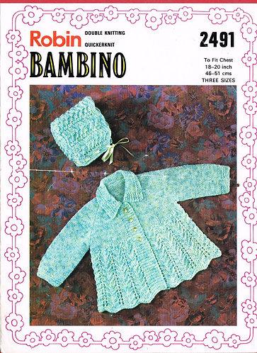 2491R baby matinee coat set vintage knitting pattern  PDF Download