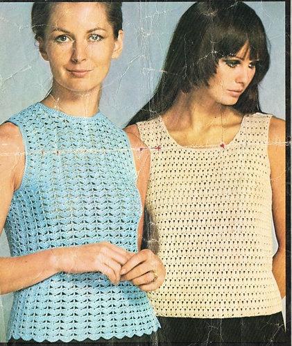 5882T ladies summer tops vintage crochet pattern  PDF Download