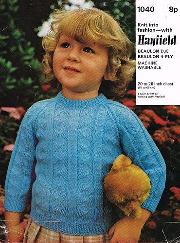 1040H baby jumper vintage knitting pattern  PDF Download