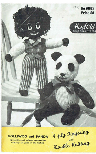 9065H golly panda toy vintage knitting pattern PDF Download