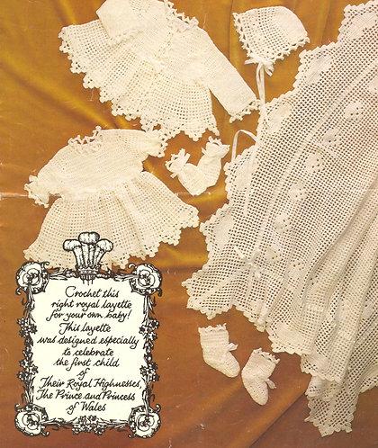 7011P baby christening dress set vintage crochet pattern  PDF Download