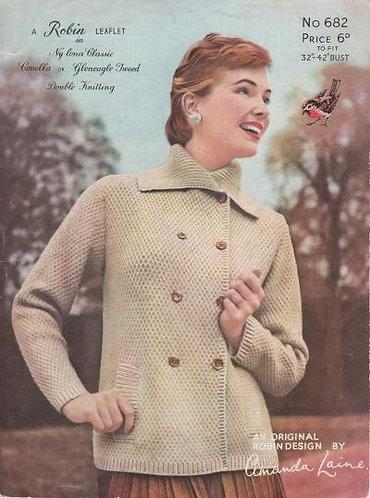 682R ladies car coat cardigan vintage knitting pattern  PDF Download
