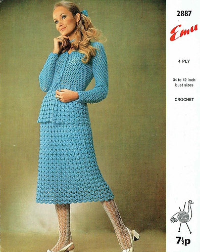 2887 ladies cardigan skirt suit vintage crochet pattern PDF Download