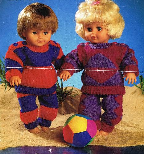4267W dolls vintage knitting pattern PDF