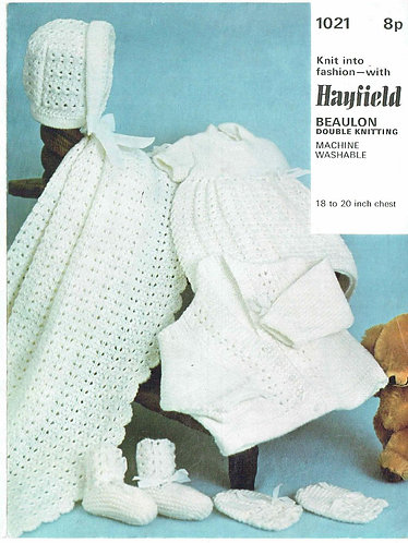 1021H baby matinee coat shawl set vintage knitting pattern  PDF Download