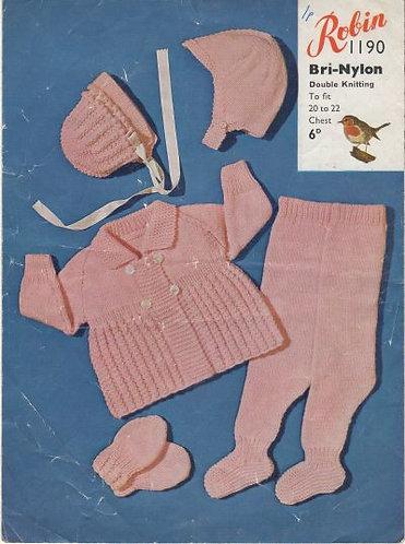 1190R baby pram suit vintage knitting pattern  PDF Download