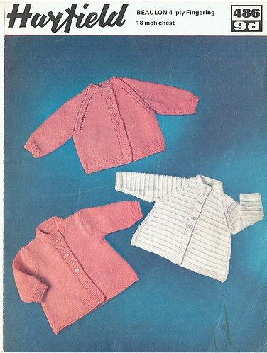 486H baby matinee coats vintage knitting pattern  PDF Download