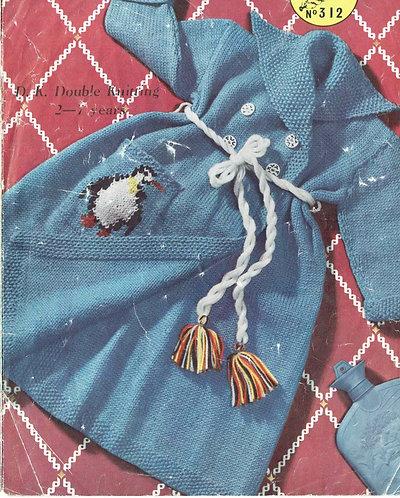 312M baby dressing gown vintage knitting pattern  PDF Download