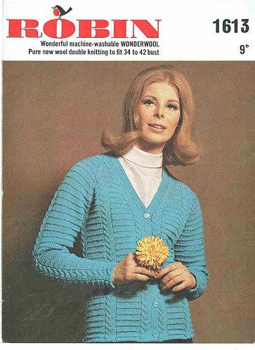 1613R ladies cardigan vintage knitting pattern  PDF Download