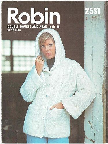 2531R ladies hoodie cardigan vintage knitting pattern  PDF Download