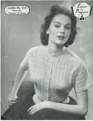 213P ladies summer top vintage knitting pattern  PDF Download