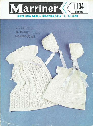Baby christening dress set 1134 vintage knitting pattern PDF Download