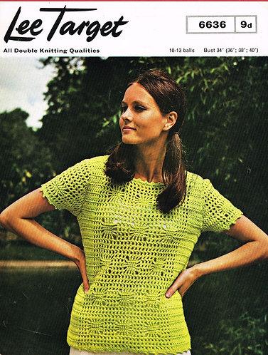 6636Lt ladies summer top vintage crochet pattern  PDF Download