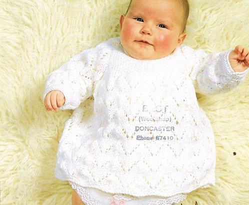 1901H baby dress vintage knitting pattern  PDF Download