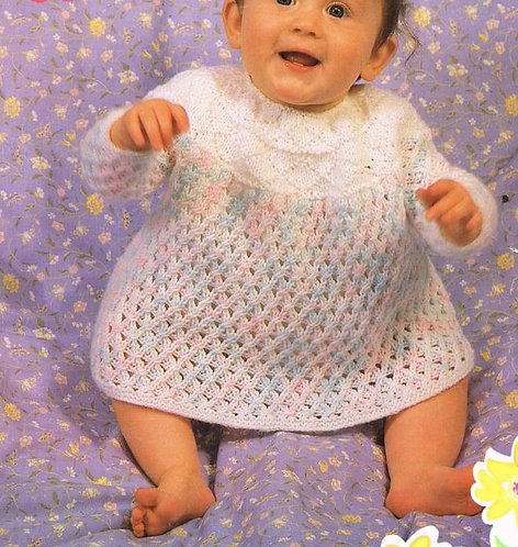 464Ar baby dress vintage knitting pattern PDF