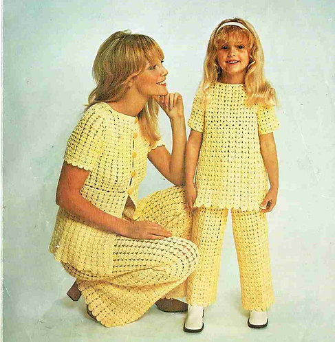 5132T mother daughter trouser suit vintage crochet pattern  PDF Download