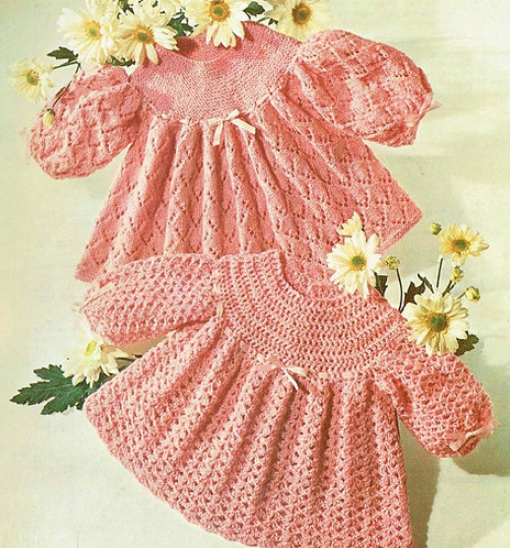 305J baby dress vintage knitting and crochet pattern PDF Download