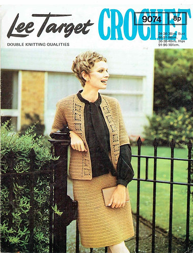 9074Lt ladies cardigan skirt suit vintage crochet pattern  PDF Download
