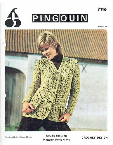 7116P ladies cardigan vintage crochet pattern  PDF Download