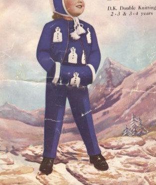 333M childrens snowman trouser suit vintage knitting pattern  PDF Download