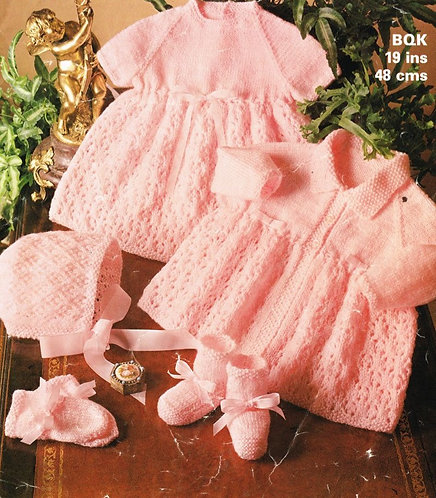 1813M baby matinee coat dress set vintage knitting pattern  PDF Download