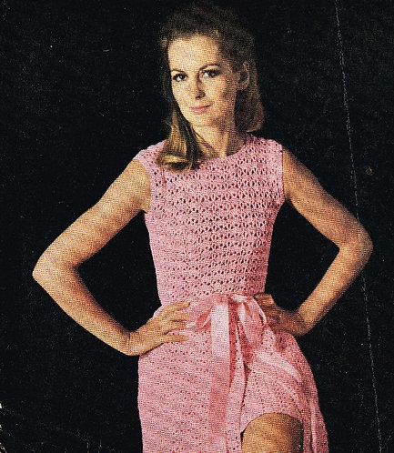 53T ladies dress vintage crochet pattern  PDF Download