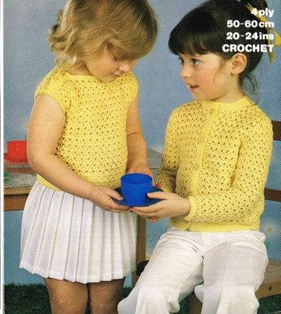 1744M girls cardigan vintage crochet pattern  PDF Download