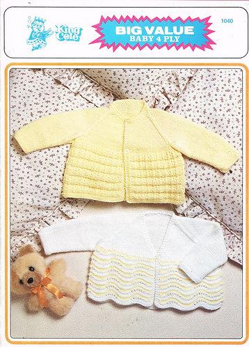 1040KK baby matinee coat vintage knitting pattern  PDF Download