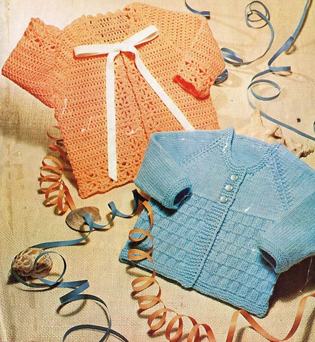 91L baby matinee coat vintage knitting and crochet pattern  PDF Download