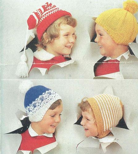 1122M baby hats vintage knitting pattern PDF Download