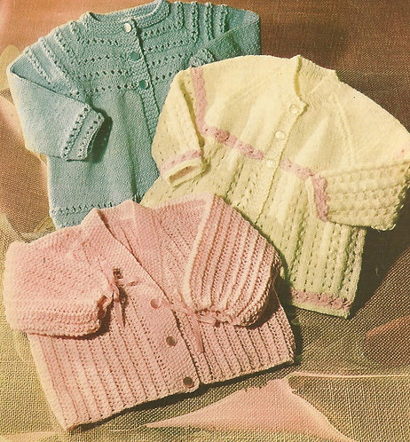 607L baby matinee coats vintage knitting pattern  PDF Download