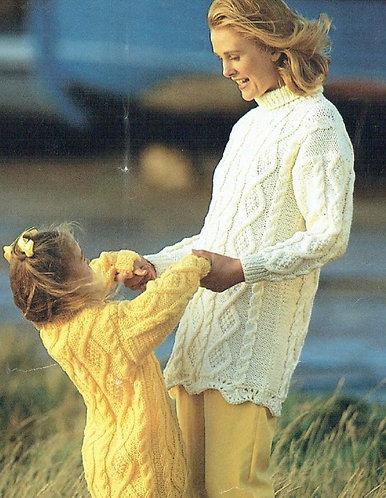 4207H mother daughter jumper Vintage knititng pattern  PDF Download
