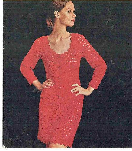 65T ladies cardigan suit vintage crochet pattern  PDF Download