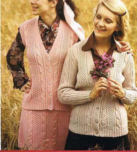 4338 ladies waistcoat cardigan skirt set Vintage knitting pattern  PDF Download