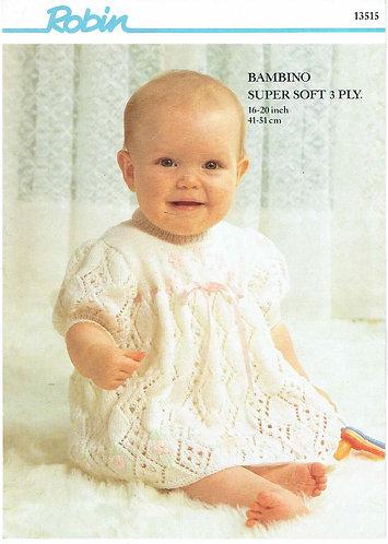 13515R baby dress vintage knitting pattern  PDF Download