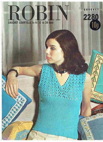 2280R ladies summer top vintage crochet pattern  PDF Download