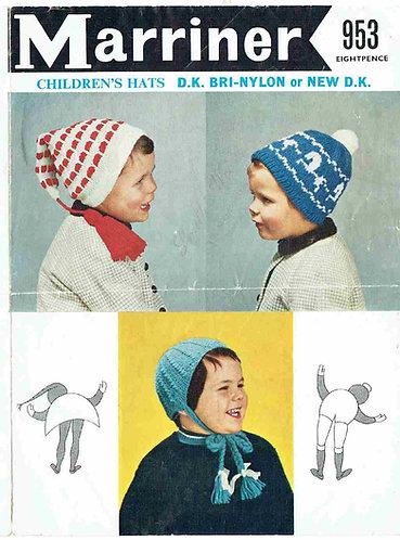 953 baby hats Vintage knitting pattern  PDF Download
