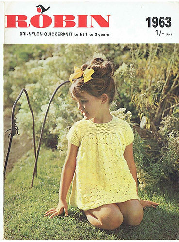 1963R baby dress vintage crochet pattern PDF Download