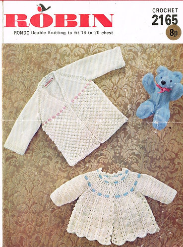 2165R baby matinee coats vintage knitting and crochet pattern PDF Download