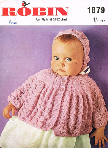 1879R baby matinee coat set vintage knitting pattern  PDF Download