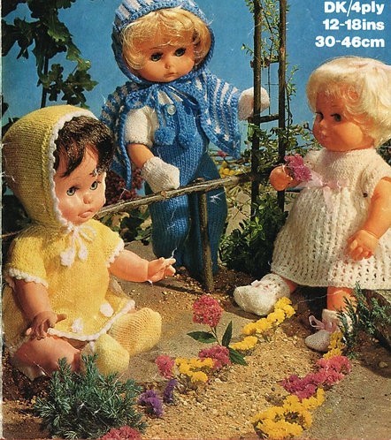 1692M dolls clothes vintage knitting pattern  PDF Download