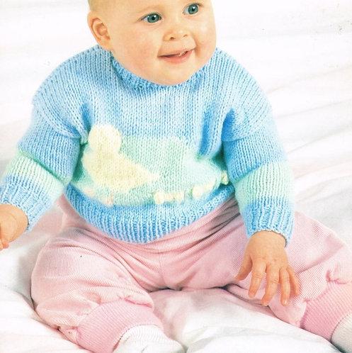513WW baby jumper vintage knitting pattern  PDF Download
