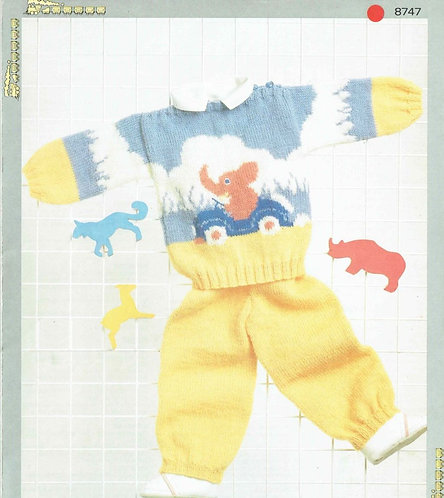 8747P baby jumper set vintage knitting pattern  PDF Download