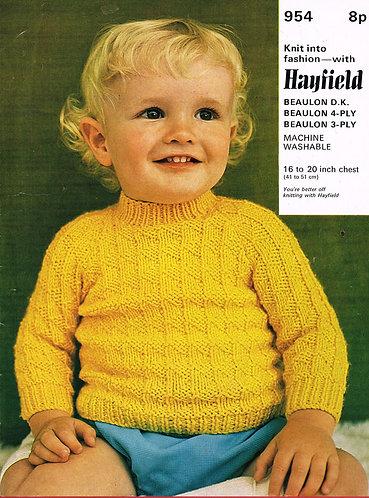954H baby jumper vintage knitting pattern  PDF Download