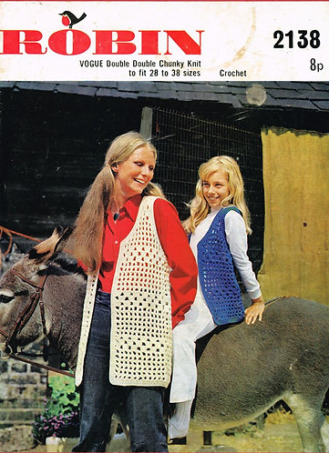 2138R mother daughter waistcoat vintage crochet pattern  PDF Download
