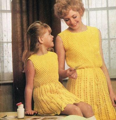 757H mother & daughter dresses Vintage crochet pattern  PDF Download