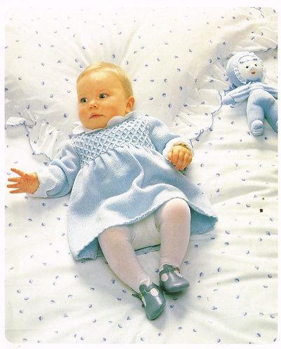8708P baby dress set Vintage knitting pattern  PDF Download