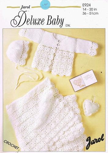 924J baby matinee coat shawl vintage crochet pattern  PDF Download