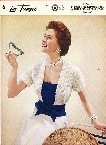1247Lt ladies bolero cardigan vintage knitting pattern  PDF download
